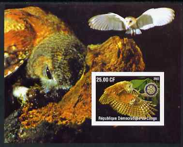 Congo 2002 Owls #2 imperf m/sheet with Rotary Logo unmounted mint