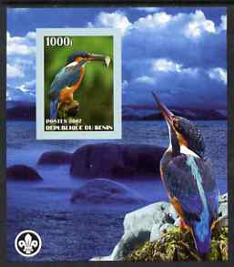 Benin 2007 Kingfishers imperf m/sheet with Scout Logo, unmounted mint