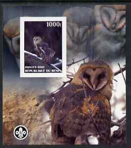 Benin 2007 Owls #1 imperf m/sheet with Scout Logo, unmounted mint