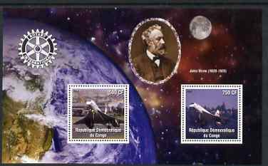 Congo 2004 Concorde perf sheetlet containing 2 values with Rotary Logo in background with Jules Verne and view of Earth from space, unmounted mint, stamps on rotary, stamps on aviation, stamps on concorde, stamps on verne, stamps on sci-fi, stamps on space, stamps on literature, stamps on science