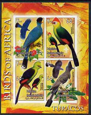 Palestine (PNA) 2005 Birds of Africa - Turacos imperf sheetlet containing 4 values each with Scout Logo unmounted mint