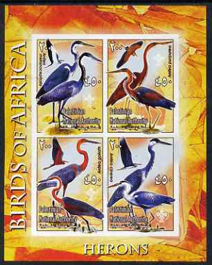 Palestine (PNA) 2005 Birds of Africa - Herons imperf sheetlet containing 4 values each with Scout Logo unmounted mint. Note this item is privately produced and is offered purely on its thematic appeal