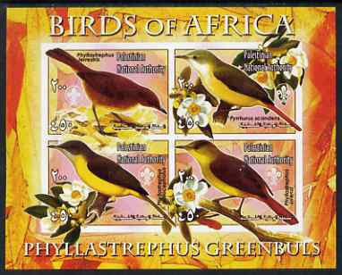 Palestine (PNA) 2005 Birds of Africa - Greenbuls imperf sheetlet containing 4 values each with Scout Logo unmounted mint