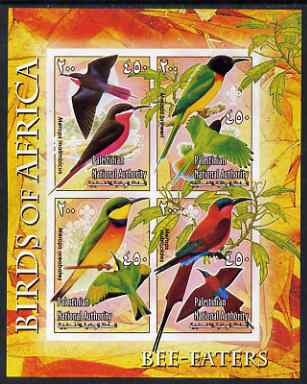 Palestine (PNA) 2005 Birds of Africa - Bee Eaters imperf sheetlet containing 4 values each with Scout Logo unmounted mint. Note this item is privately produced and is offered purely on its thematic appeal