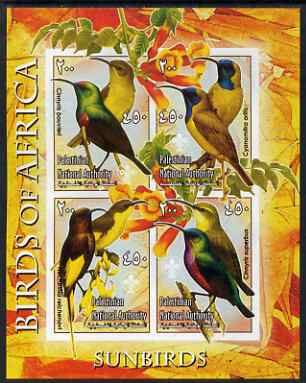 Palestine (PNA) 2005 Birds of Africa - Sunbirds imperf sheetlet containing 4 values each with Scout Logo unmounted mint. Note this item is privately produced and is offered purely on its thematic appeal