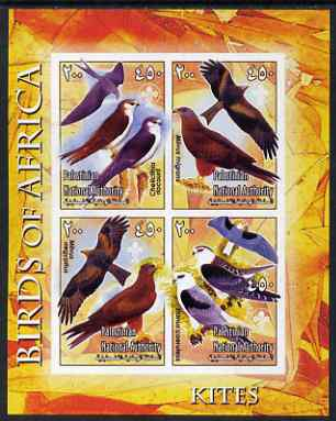 Palestine (PNA) 2005 Birds of Africa - Kites imperf sheetlet containing 4 values each with Scout Logo unmounted mint