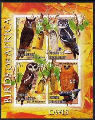 Palestine (PNA) 2005 Birds of Africa - Owls imperf sheetlet containing 4 values each with Scout Logo unmounted mint