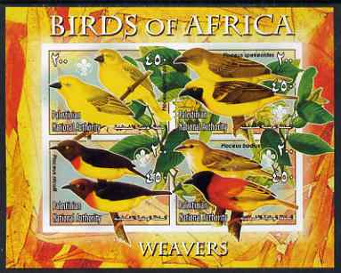 Palestine (PNA) 2005 Birds of Africa - Weavers imperf sheetlet containing 4 values each with Scout Logo unmounted mint. Note this item is privately produced and is offered purely on its thematic appeal, stamps on birds, stamps on scouts