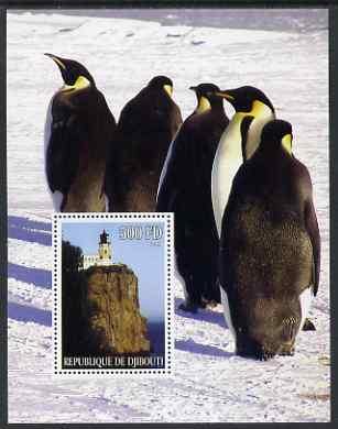Djibouti 2005 Lighthouses #1 perf s/sheet (with Penguins as background) unmounted mint