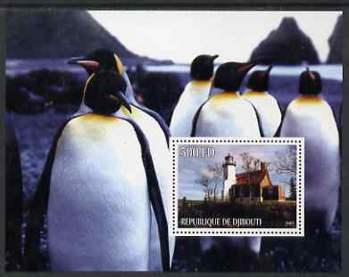 Djibouti 2005 Lighthouses #2 perf s/sheet (with Penguins as background) unmounted mint
