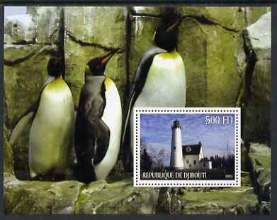 Djibouti 2005 Lighthouses #4 perf s/sheet (with Penguins as background) unmounted mint