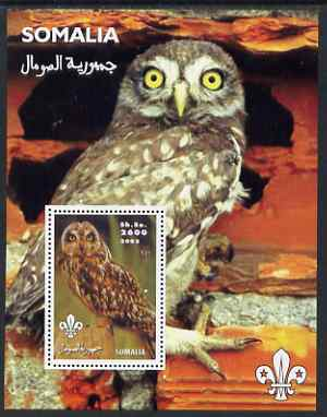 Somalia 2002 Owls #1 perf s/sheet with Scouts Logo, unmounted mint