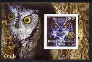 Congo 2004 Owls #4 imperf souvenir sheet with Rotary Logo, unmounted mint