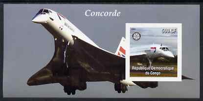 Congo 2004 Concorde #1 imperf souvenir sheet with Rotary Logo, unmounted mint
