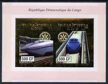 Congo 2003 High Speed Trains imperf sheetlet containing 2 x 500 CF values with embossed gold background & Rotary Logo, unmounted mint