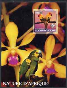 Benin 2006 Nature of Africa - Parrots & Orchids (with Scout Logo) imperf m/sheet, unmounted mint