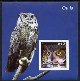 Congo 2004 Owls #1 imperf souvenir sheet with Rotary Logo, unmounted mint