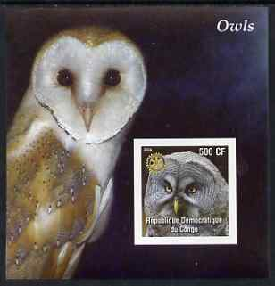 Congo 2004 Owls #2 imperf souvenir sheet with Rotary Logo, unmounted mint