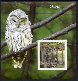 Congo 2004 Owls #3 imperf souvenir sheet with Rotary Logo, unmounted mint