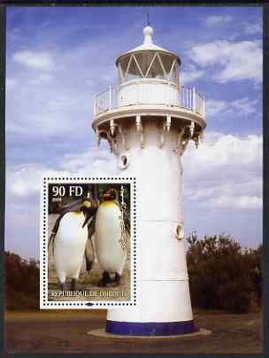 Djibouti 2004 Penguins #3 (Lighthouse in background) perf m/sheet unmounted mint