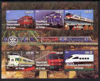 Congo 2004 Modern Trains #3 (small format) perf sheetlet containing 6 values, with Rotary Logo unmounted mint