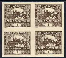 Czechoslovakia 1918-19 Hradcany Castle 1h chocolate imperf block of 4 unmounted mint but minor wrinkles, SG3