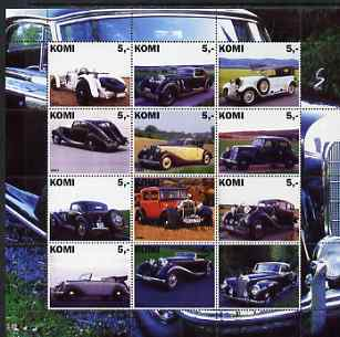 Komi Republic 2001 Old Cars #2 perf sheetlet containing set of 12 values unmounted mint