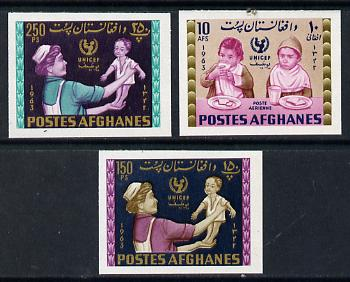 Afghanistan 1964 UNICEF set of 3 values imperforate, unmounted mint*