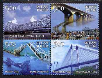 India 2007 Landmark Bridges of India perf se-tenant block of 4 unmounted mint