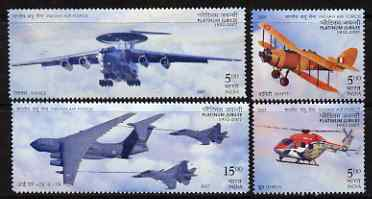 India 2007 Indian Ar Force Platinum Jubilee perf set of 4 unmounted mint