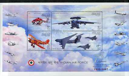 India 2007 Indian Ar Force Platinum Jubilee perf m/sheet unmounted mint