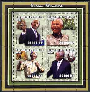 Mozambique 2002 Minerals & Nelson Mandela perf sheetlet containing 4 values unmounted mint, Yv 2042-45