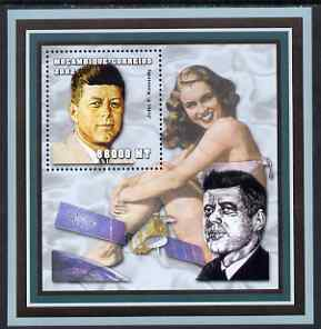 Mozambique 2002 John F Kennedy perf s/sheet containing 1 value unmounted mint (with Marilyn Monroe) Yv 124