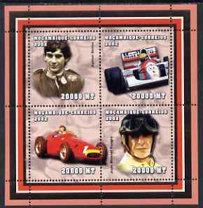 Mozambique 2002 Formula 1 perf sheetlet containing 4 values unmounted mint (Senna & Fangio) Yv 2072-75