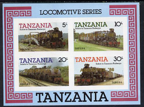 Tanzania 1985 Locomotives imperf proof miniature sheet with 'AMERIPEX 86' opt in gold (unissued) unmounted mint