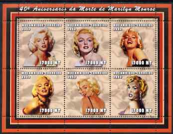 Mozambique 2002 40th Anniversary of Death of Marilyn Monroe perf sheetlet containing 6 values unmounted mint (6 x 17,000 MT) Yv 1942-47