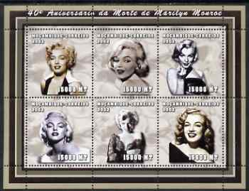 Mozambique 2002 40th Anniversary of Death of Marilyn Monroe perf sheetlet containing 6 values unmounted mint (6 x 15,000 MT) Yv 1936-41