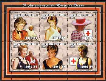 Mozambique 2002 5th Anniversary of Death of Princess Diana perf sheetlet containing 6 values unmounted mint (6 x 15,000 MT) Yv 1948-53