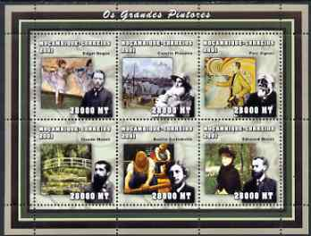 Mozambique 2002 The Impressionists perf sheetlet containing 6 values unmounted mint (6 x 28,000 MT) Yv 2002-7