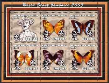 Mozambique 2002 World Scout Jamboree #1 perf sheetlet containing 6 values unmounted mint (with Butterflies) Yv 1954-59