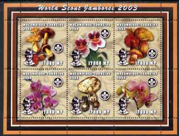 Mozambique 2002 World Scout Jamboree #2 perf sheetlet containing 6 values unmounted mint (with Orchids & Fungi) Yv 1960-5