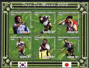 Mozambique 2001 Football World Cup perf sheetlet containing 6 values unmounted mint (Crespo, Buffon, Bruggink, Cassano, Kallon & Bachini) Mi 1871-76, stamps on sport, stamps on football