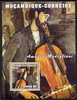 Mozambique 2001 Paintings by Amadeo Modigliani perf s/sheet unmounted mint (100,000 MT) Mi 2173, Sc 1509
