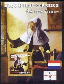 Mozambique 2001 Paintings by Johannes Vermeer perf s/sheet unmounted mint with Amphilex Imprint (50,000 MT) Mi 2153, Sc 1495
