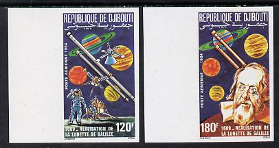 Djibouti 1984 Galileo's Telescope set of 2 imperf from limited printing, as SG 932-3
