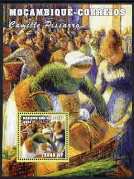 Mozambique 2001 Paintings by Camille Pissaro perf s/sheet unmounted mint (75,000 MT) Mi 2167. Sc 1504