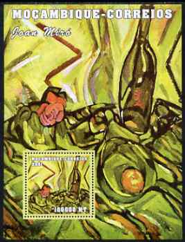 Mozambique 2001 Paintings by Joan Miro perf s/sheet unmounted mint (100,000 MT) Mi 2174, Sc 1508