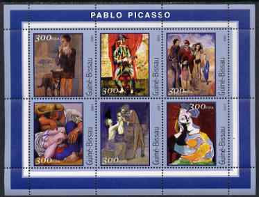 Guinea - Bissau 2001 Paintings by Pablo Picasso perf sheetlet containing 6 values unmounted mint Mi 1618-23