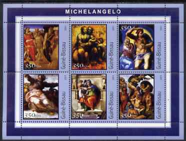 Guinea - Bissau 2001 Paintings by Michelangelo perf sheetlet containing 6 values unmounted mint Mi 1678-83