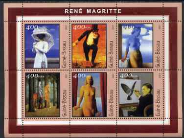 Guinea - Bissau 2001 Paintings by Rene Magritte perf sheetlet containing 6 values unmounted mint Mi 1684-89